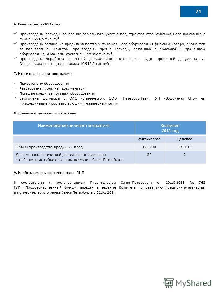 6. Выполнено в 2013 году Произведены расходы по аренде земельного участка под строительство мукомольного комплекса в сумме 6 276,5 тыс. руб. Произведено погашение кредита за поставку мукомольного оборудования фирмы «Бюлер», процентов за пользование к