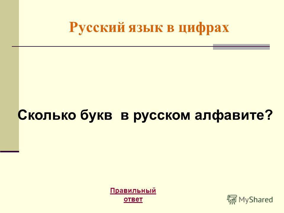 Русский язык в цифрах Правильный ответ Сколько букв в русском алфавите?