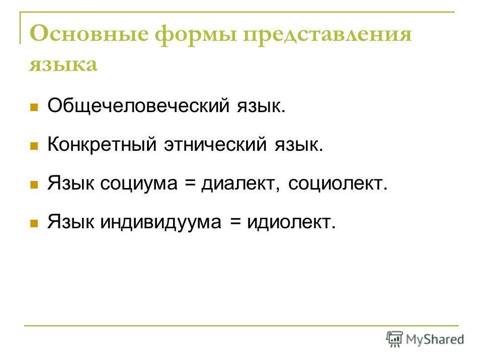Основные формы представления языка Общечеловеческий язык. Конкретный этнический язык. Язык социума = диалект, социолект. Язык индивидуума = идиолект.