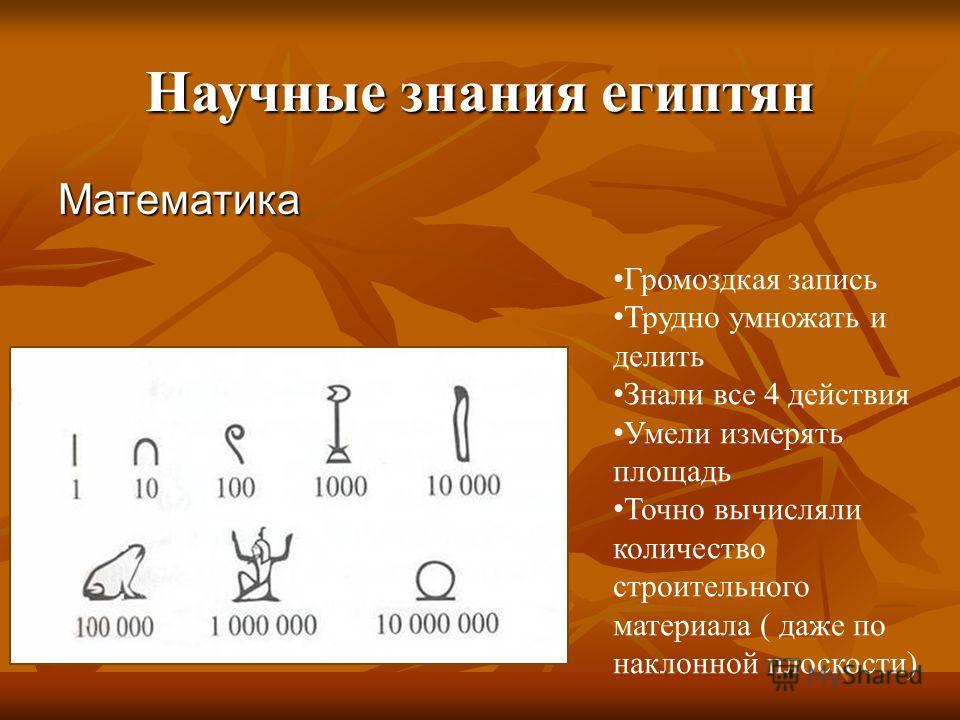 Научные знания египтян Математика Громоздкая запись Трудно умножать и делить Знали все 4 действия Умели измерять площадь Точно вычисляли количество строительного материала ( даже по наклонной плоскости)
