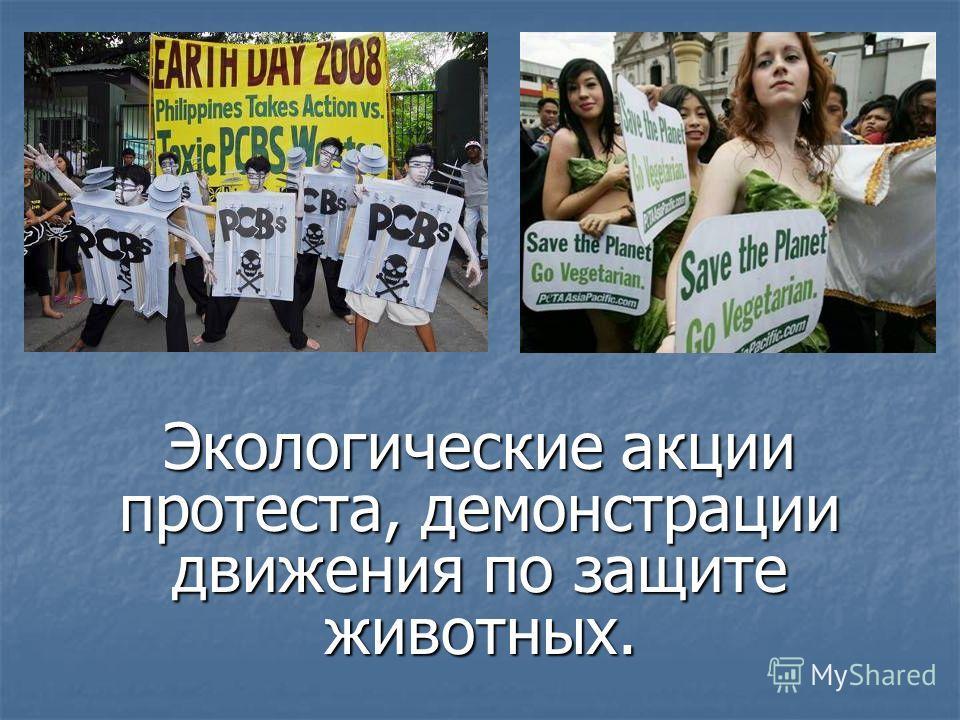 Экологические акции протеста, демонстрации движения по защите животных.
