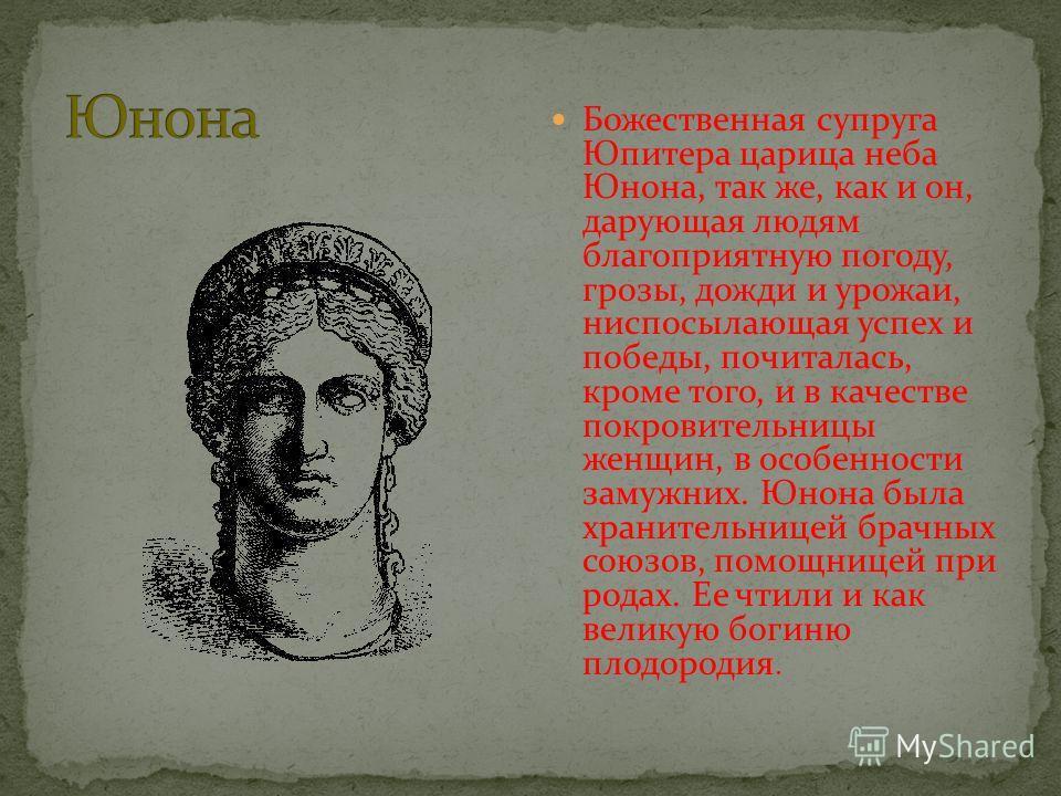 Божественная супруга Юпитера царица неба Юнона, так же, как и он, дарующая людям благоприятную погоду, грозы, дожди и урожаи, ниспосылающая успех и победы, почиталась, кроме того, и в качестве покровительницы женщин, в особенности замужних. Юнона был