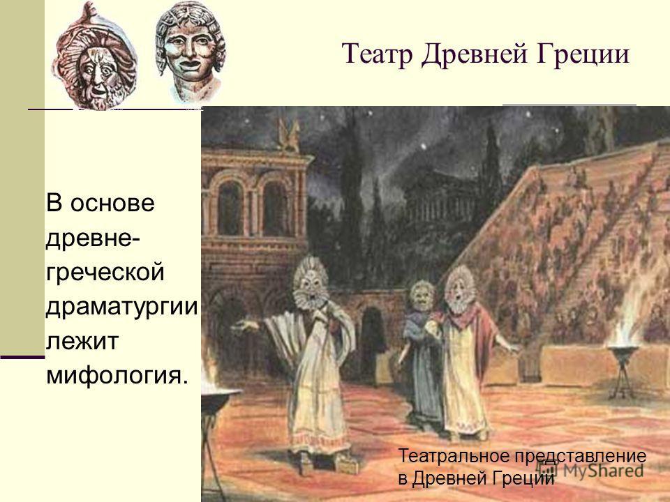 Театр Древней Греции В основе древне- греческой драматургии лежит мифология. Театральное представление в Древней Греции