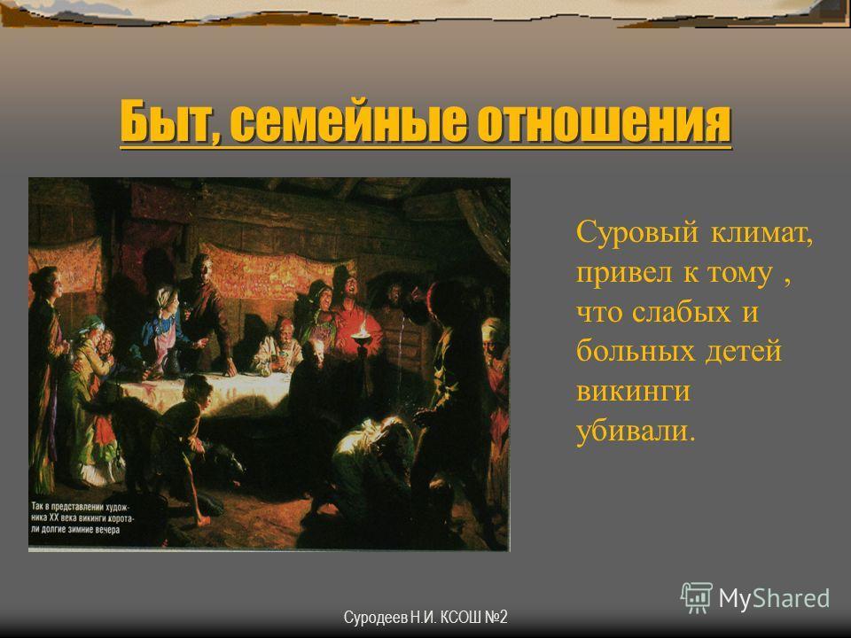Суродеев Н.И. КСОШ 2 Быт, семейные отношения Суровый климат, привел к тому, что слабых и больных детей викинги убивали.