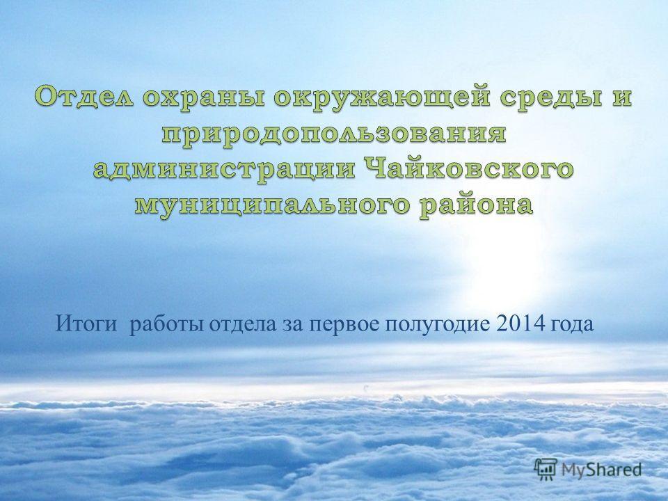 Итоги работы отдела за первое полугодие 2014 года