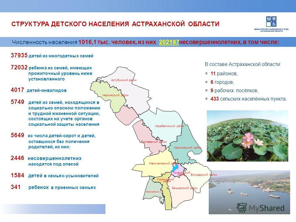 В составе Астраханской области: 11 районов, 6 городов, 9 рабочих посёлков, 433 сельских населённых пункта. Численность населения 1016,1 тыс. человек, из них 202197 несовершеннолетних, в том числе: 37935 детей из многодетных семей 72032 ребенка из сем