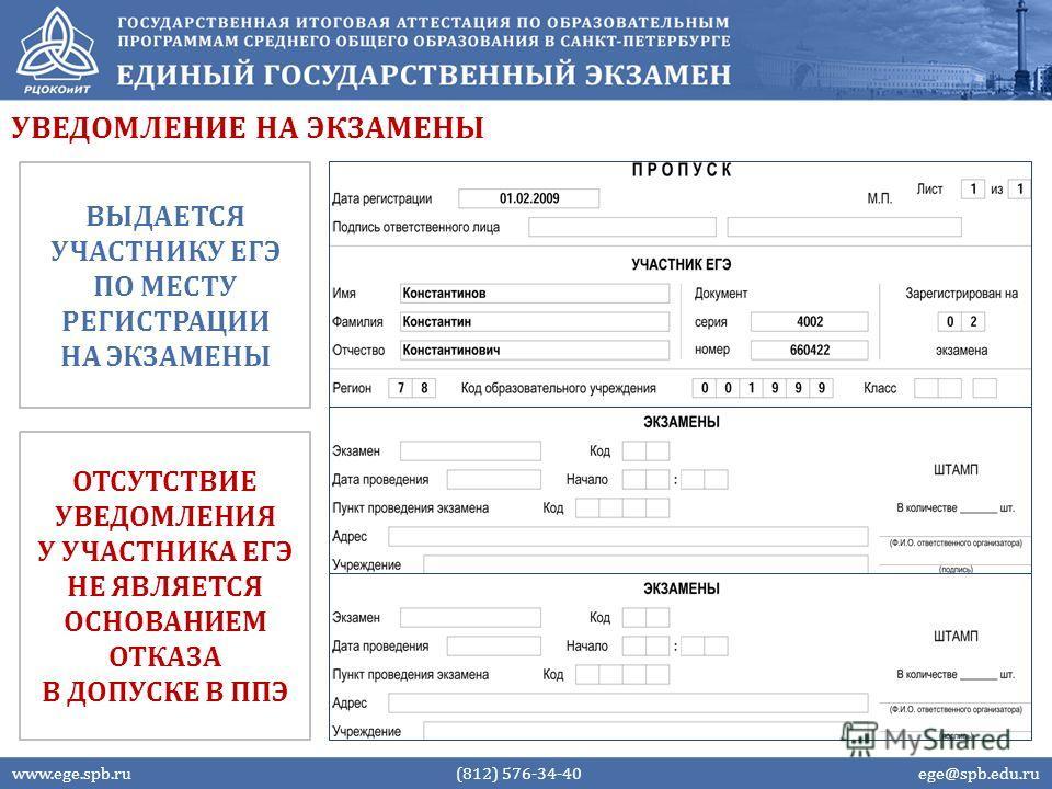 УВЕДОМЛЕНИЕ НА ЭКЗАМЕНЫ www.ege.spb.ru (812) 576-34-40 ege@spb.edu.ru ВЫДАЕТСЯ УЧАСТНИКУ ЕГЭ ПО МЕСТУ РЕГИСТРАЦИИ НА ЭКЗАМЕНЫ ОТСУТСТВИЕ УВЕДОМЛЕНИЯ У УЧАСТНИКА ЕГЭ НЕ ЯВЛЯЕТСЯ ОСНОВАНИЕМ ОТКАЗА В ДОПУСКЕ В ППЭ