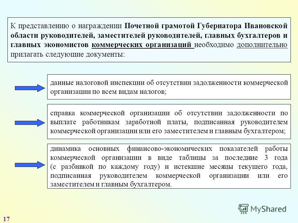 К представлению о награждении Почетной грамотой Губернатора Ивановской области руководителей, заместителей руководителей, главных бухгалтеров и главных экономистов коммерческих организаций необходимо дополнительно прилагать следующие документы: данны