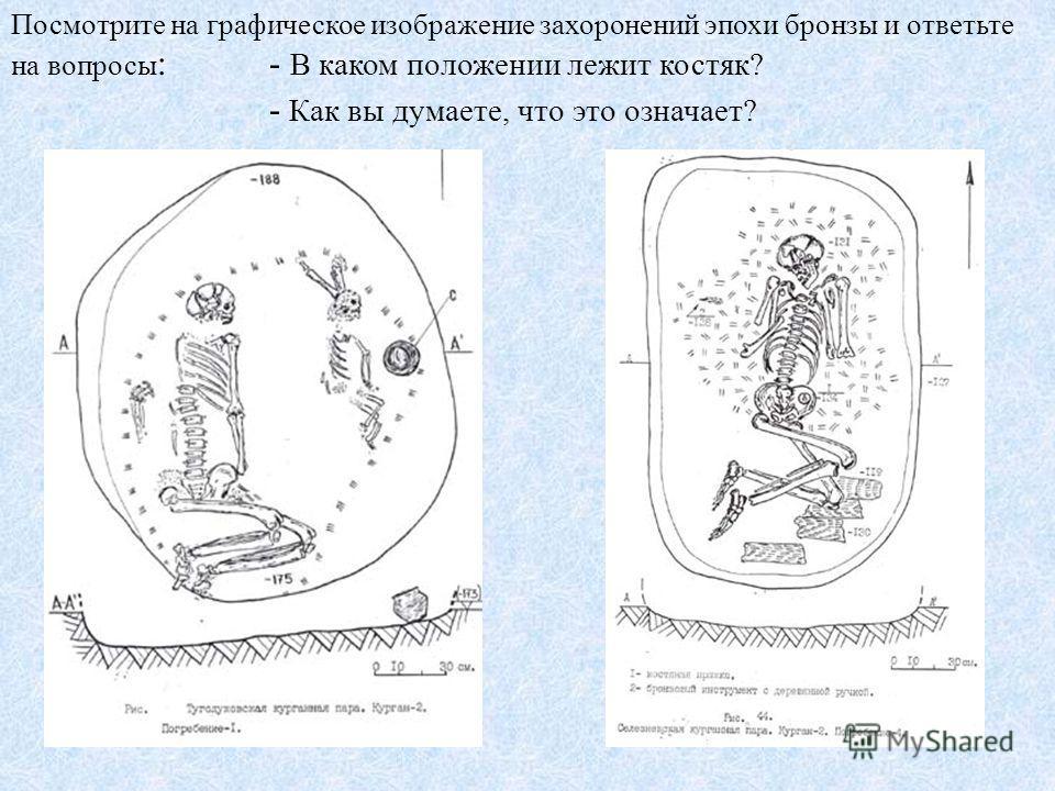 Посмотрите на графическое изображение захоронений эпохи бронзы и ответьте на вопросы : - В каком положении лежит костяк? - Как вы думаете, что это означает?