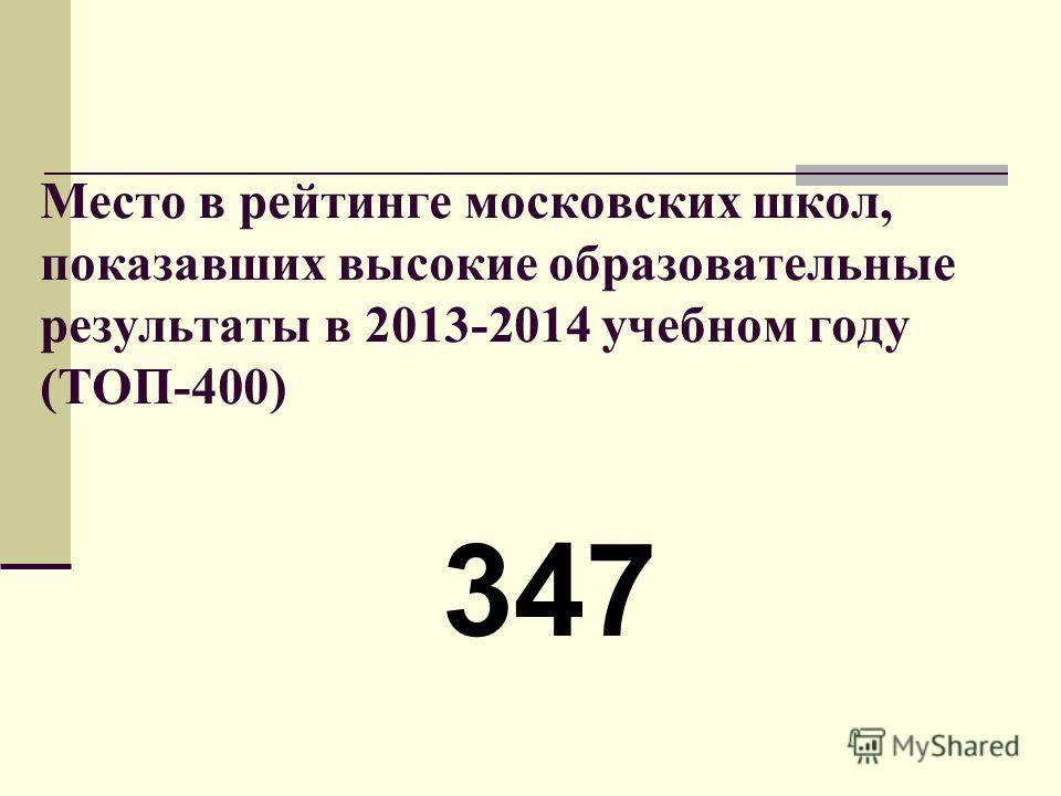 Место в рейтинге московских школ, показавших высокие образовательные результаты в 2013-2014 учебном году (ТОП-400) 347
