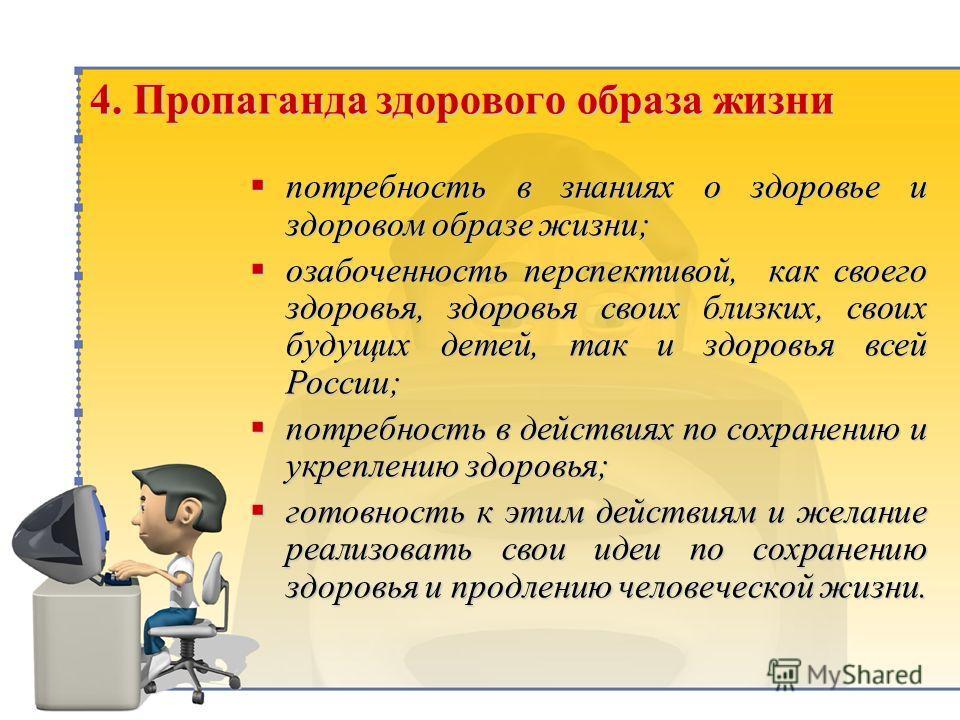 4. Пропаганда здорового образа жизни потребность в знаниях о здоровье и здоровом образе жизни; потребность в знаниях о здоровье и здоровом образе жизни; озабоченность перспективой, как своего здоровья, здоровья своих близких, своих будущих детей, так