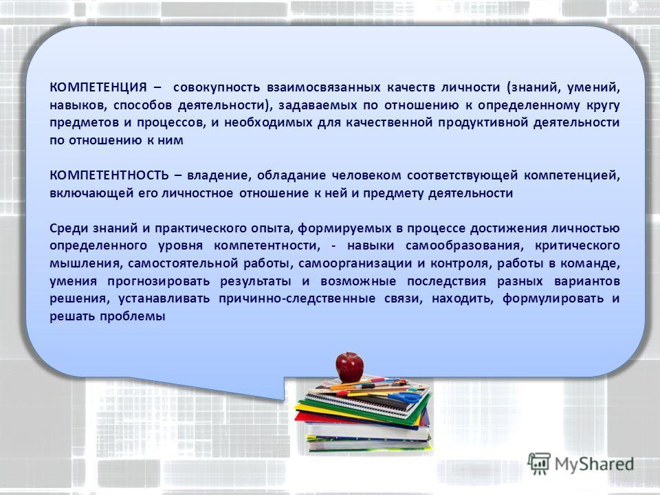 КОМПЕТЕНЦИЯ – совокупность взаимосвязанных качеств личности (знаний, умений, навыков, способов деятельности), задаваемых по отношению к определенному кругу предметов и процессов, и необходимых для качественной продуктивной деятельности по отношению к