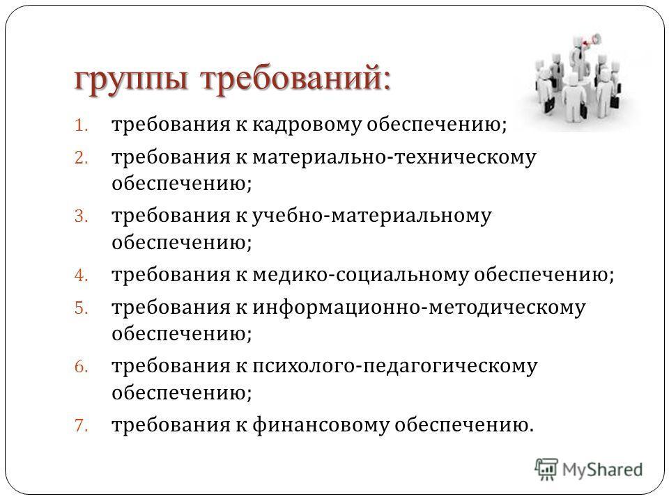 группы требований: 1. требования к кадровому обеспечению ; 2. требования к материально - техническому обеспечению ; 3. требования к учебно - материальному обеспечению ; 4. требования к медико - социальному обеспечению ; 5. требования к информационно