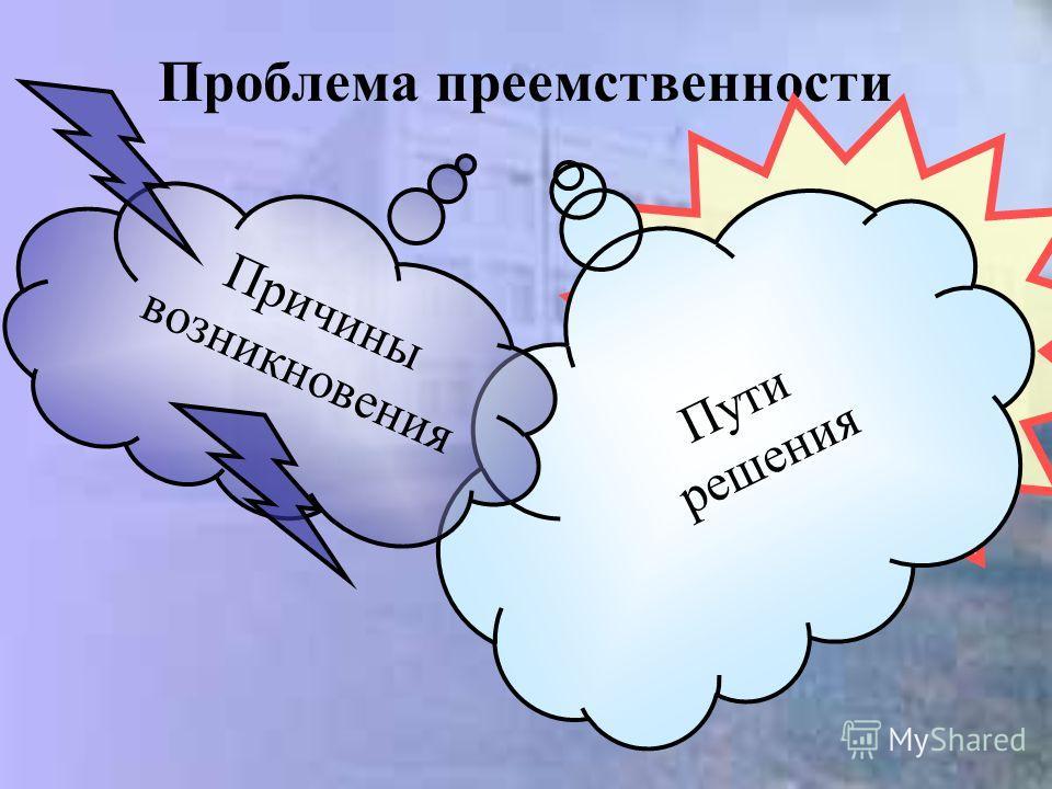 Проблема преемственности Пути решения Причины возникновения