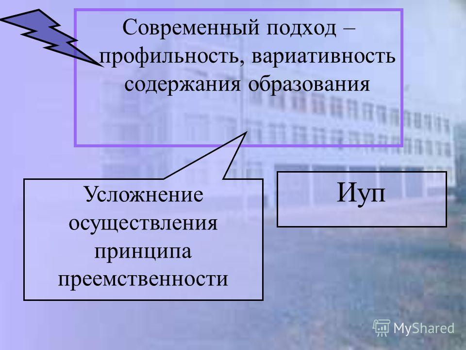 Современный подход – профильность, вариативность содержания образования Иуп Усложнение осуществления принципа преемственности