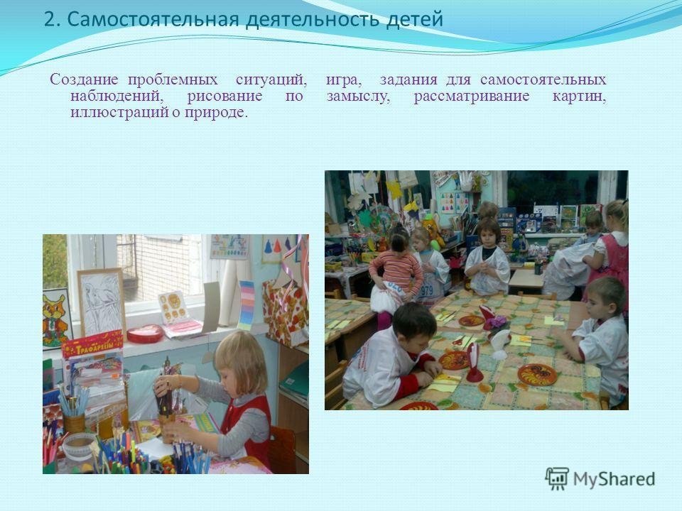 2. Cамостоятельная деятельность детей Создание проблемных ситуаций, игра, задания для самостоятельных наблюдений, рисование по замыслу, рассматривание картин, иллюстраций о природе.