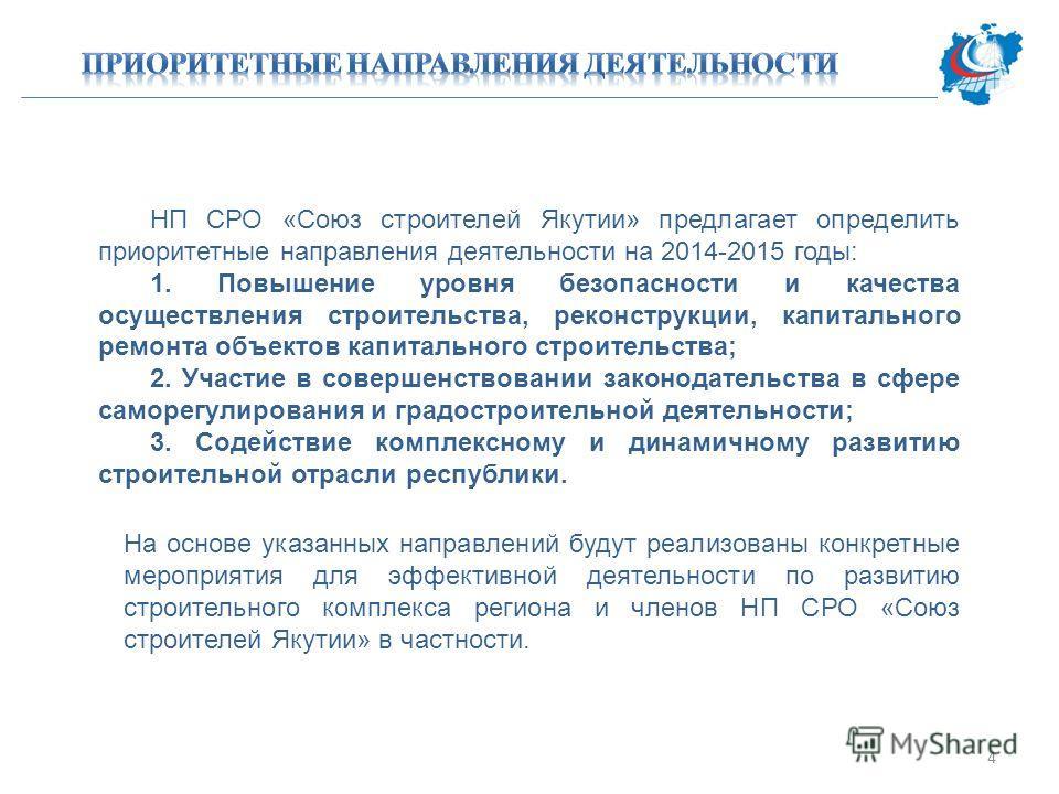 НП СРО «Союз строителей Якутии» предлагает определить приоритетные направления деятельности на 2014-2015 годы: 1. Повышение уровня безопасности и качества осуществления строительства, реконструкции, капитального ремонта объектов капитального строител