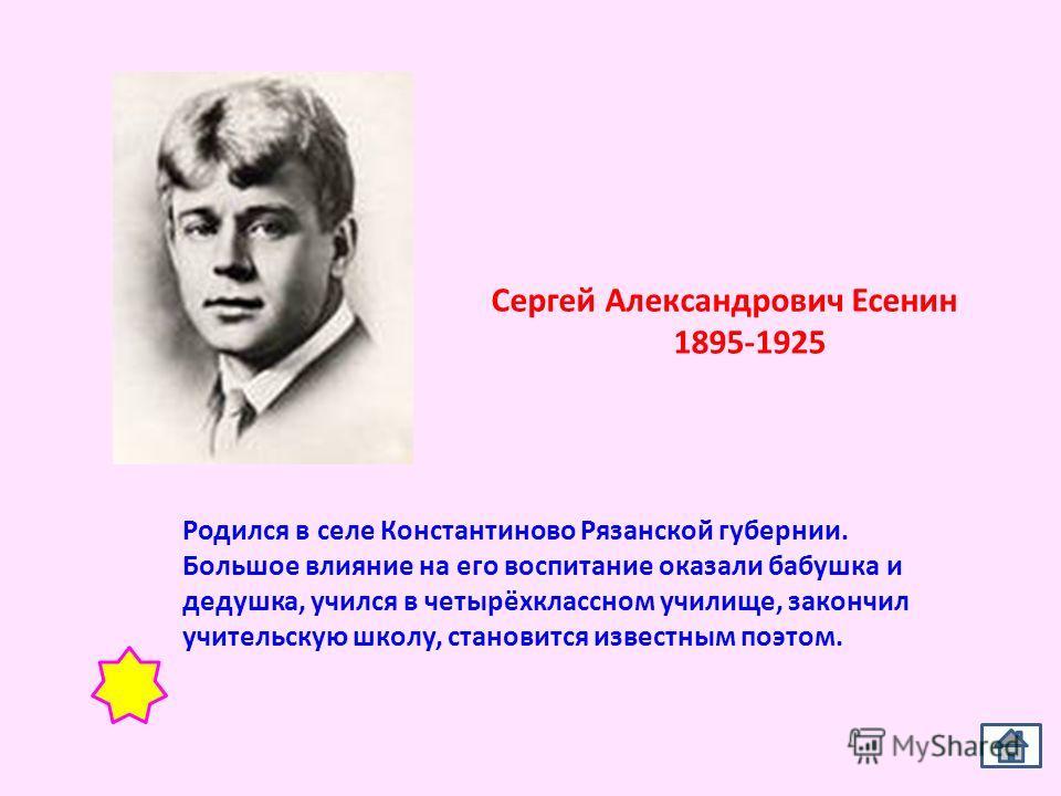 Сергей Александрович Есенин 1895-1925 Родился в селе Константиново Рязанской губернии. Большое влияние на его воспитание оказали бабушка и дедушка, учился в четырёхклассном училище, закончил учительскую школу, становится известным поэтом.