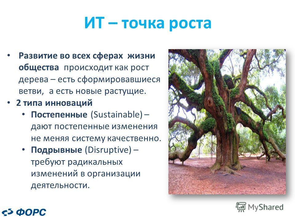 ИТ – точка роста Развитие во всех сферах жизни общества происходит как рост дерева – есть сформировавшиеся ветви, а есть новые растущие. 2 типа инноваций Постепенные (Sustainable) – дают постепенные изменения не меняя систему качественно. Подрывные (
