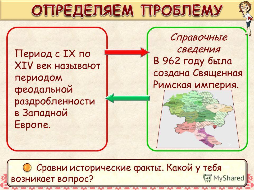 Период с IX по XIV век называют периодом феодальной раздробленности в Западной Европе. Справочные сведения В 962 году была создана Священная Римская империя. Сравни исторические факты. Какой у тебя возникает вопрос?