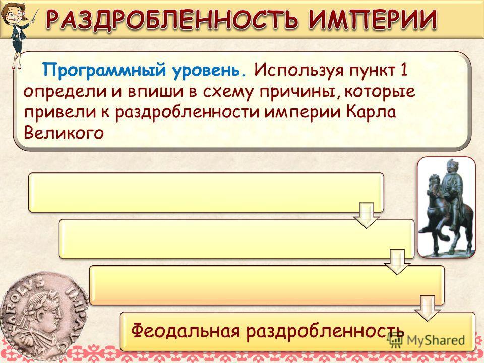 Феодальная раздробленность Программный уровень. Используя пункт 1 определи и впиши в схему причины, которые привели к раздробленности империи Карла Великого