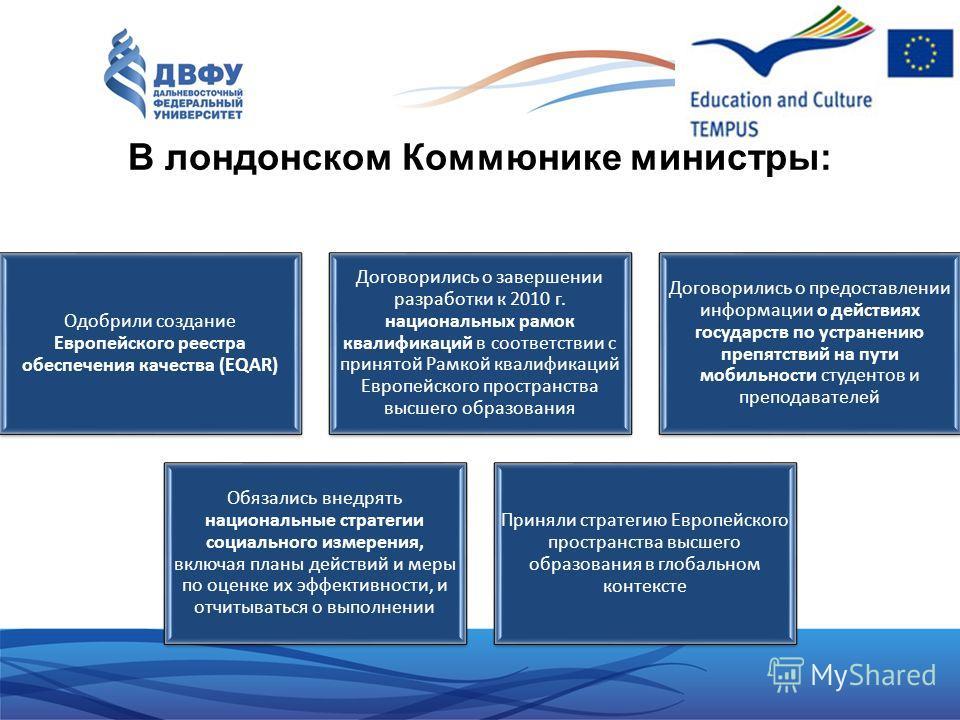 В лондонском Коммюнике министры: Одобрили создание Европейского реестра обеспечения качества (EQAR) Договорились о завершении разработки к 2010 г. национальных рамок квалификаций в соответствии с принятой Рамкой квалификаций Европейского пространства