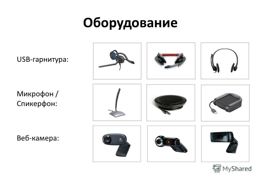 Оборудование USB-гарнитура: Микрофон / Спикерфон: Веб-камера: