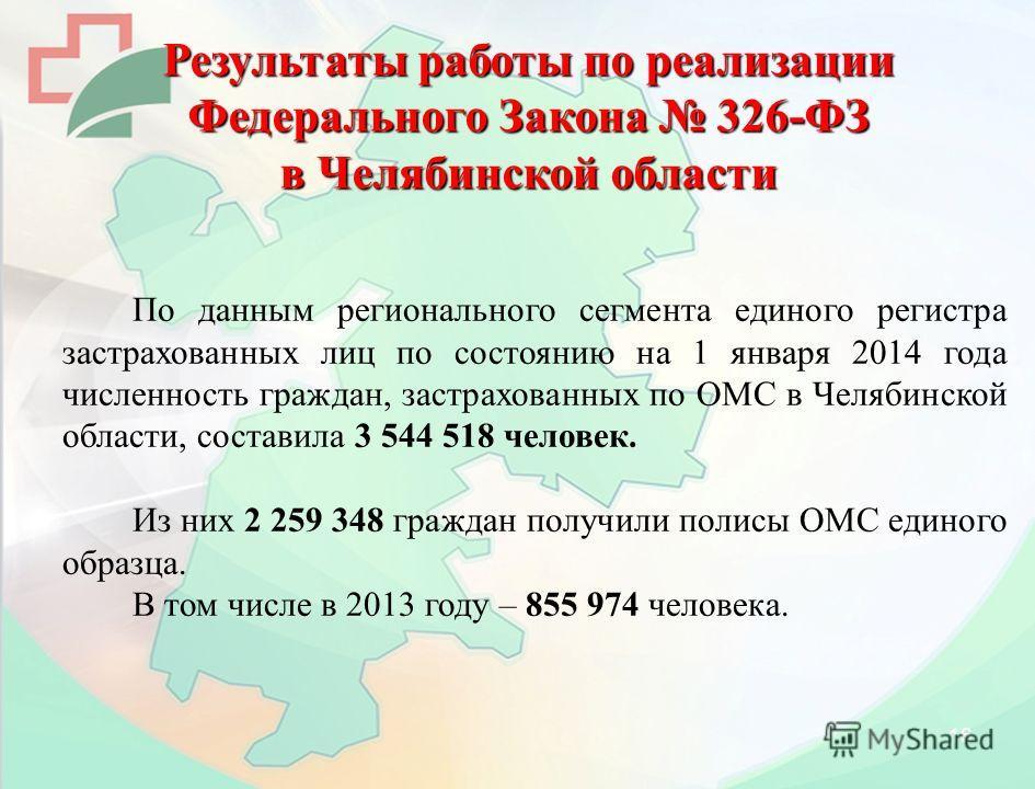 16 Результаты работы по реализации Федерального Закона 326-ФЗ в Челябинской области По данным регионального сегмента единого регистра застрахованных лиц по состоянию на 1 января 2014 года численность граждан, застрахованных по ОМС в Челябинской облас