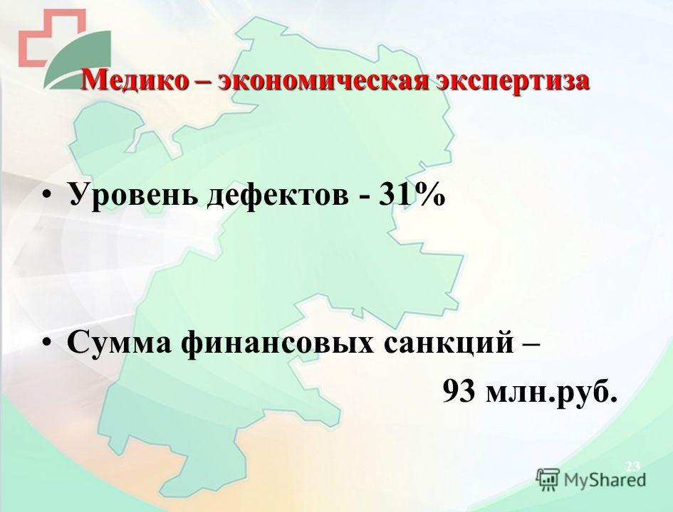 Медико – экономическая экспертиза Уровень дефектов - 31% Сумма финансовых санкций – 93 млн.руб. 23