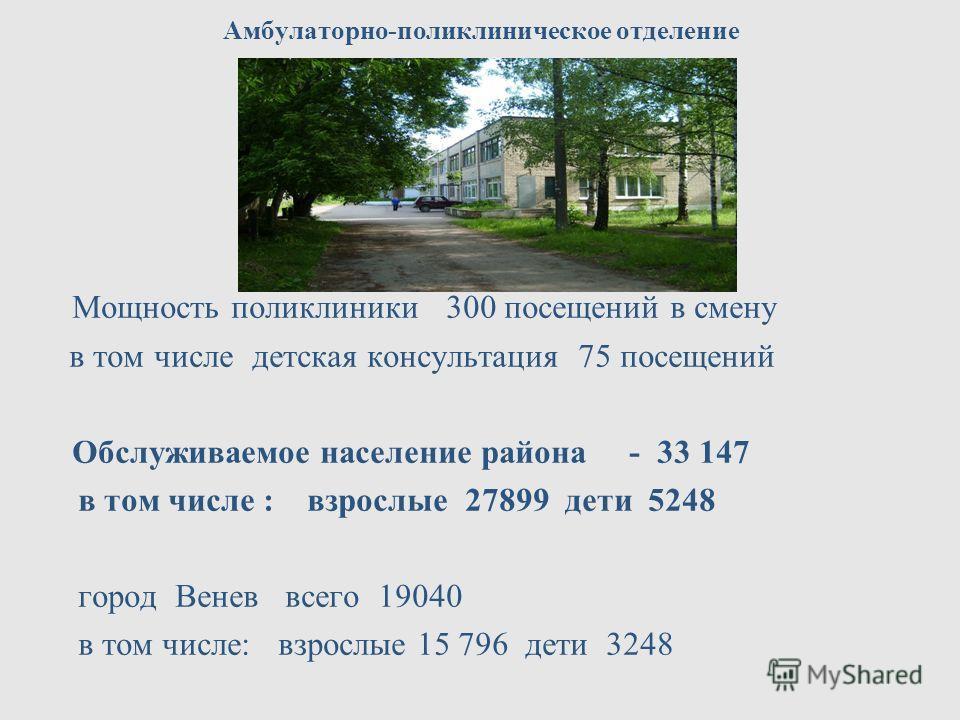 Амбулаторно-поликлиническое отделение Мощность поликлиники 300 посещений в смену в том числе детская консультация 75 посещений Обслуживаемое население района - 33 147 в том числе : взрослые 27899 дети 5248 город Венев всего 19040 в том числе: взрослы
