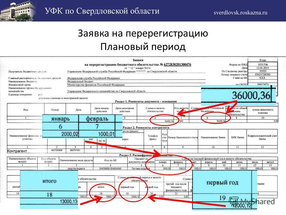 Заявка на перерегистрацию Плановый период