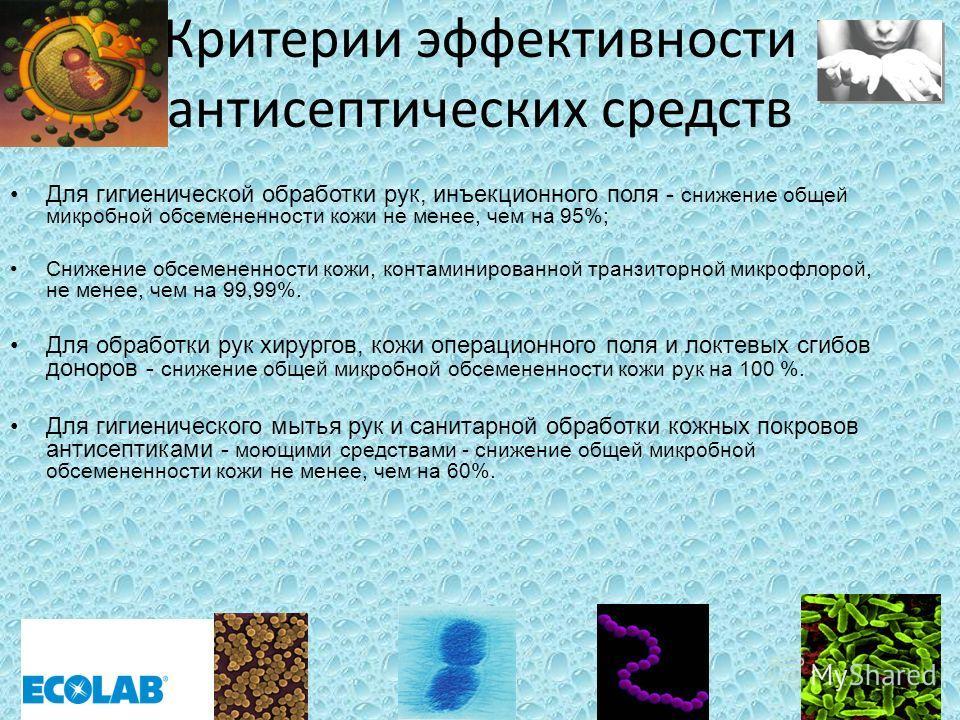 Критерии эффективности антисептических средств Для гигиенической обработки рук, инъекционного поля - снижение общей микробной обсемененности кожи не менее, чем на 95%; Снижение обсемененности кожи, контаминированной транзиторной микрофлорой, не менее