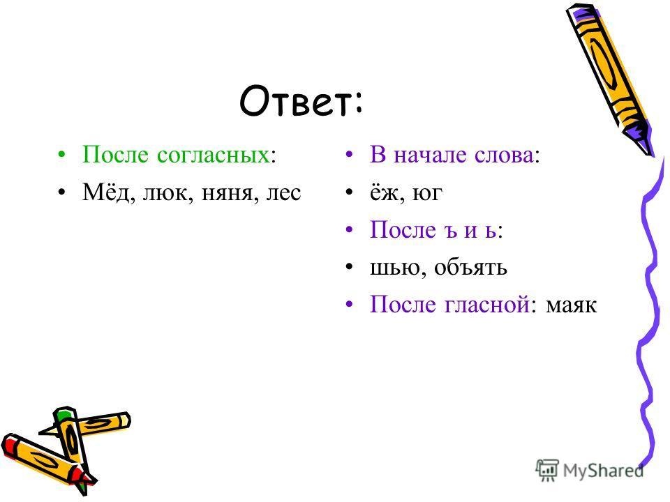 Ответ: После согласных: Мёд, люк, няня, лес В начале слова: ёж, юг После ъ и ь: шью, объять После гласной: маяк