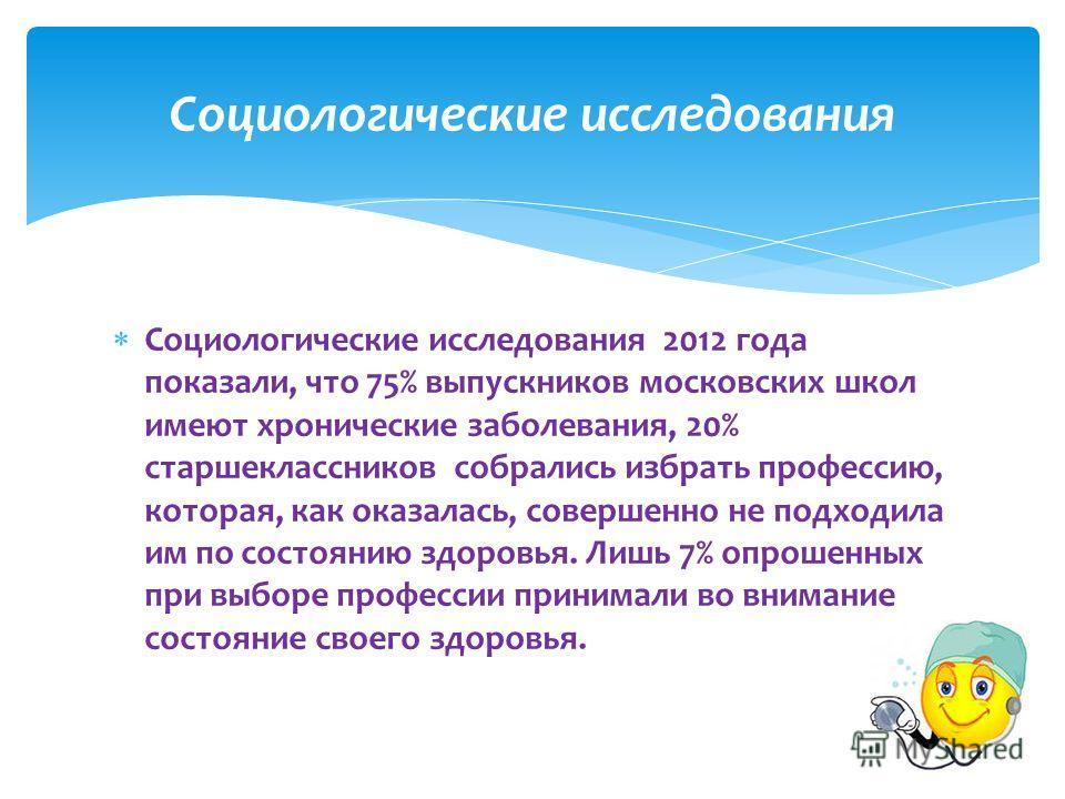 Социологические исследования 2012 года показали, что 75% выпускников московских школ имеют хронические заболевания, 20% старшеклассников собрались избрать профессию, которая, как оказалась, совершенно не подходила им по состоянию здоровья. Лишь 7% оп