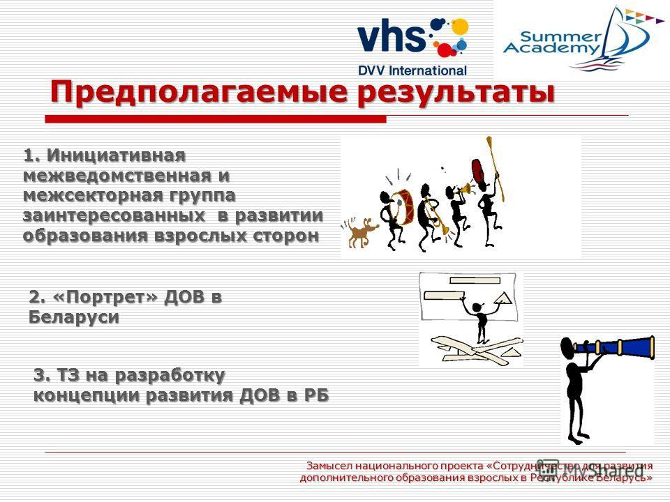 Предполагаемые результаты Замысел национального проекта «Сотрудничество для развития дополнительного образования взрослых в Республике Беларусь» 1. Инициативная межведомственная и межсекторная группа заинтересованных в развитии образования взрослых с