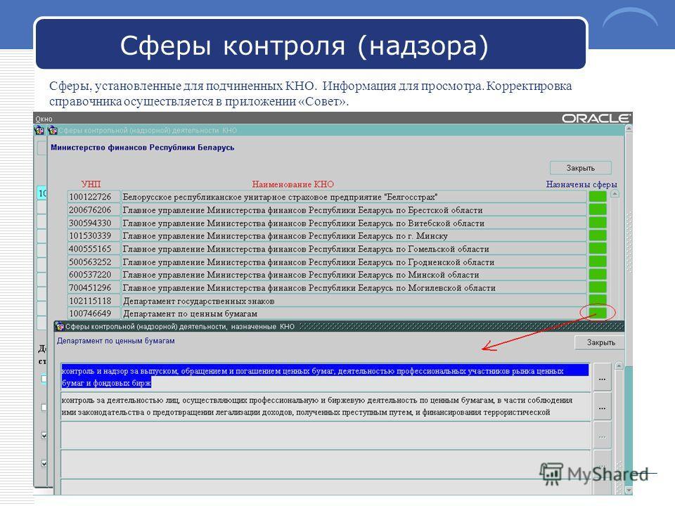 LOGO Сферы контроля (надзора) Сферы, установленные для подчиненных КНО. Информация для просмотра. Корректировка справочника осуществляется в приложении «Совет».