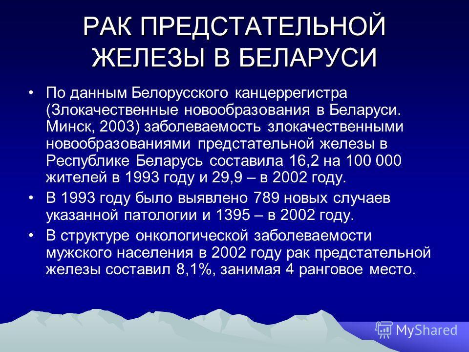 РАК ПРЕДСТАТЕЛЬНОЙ ЖЕЛЕЗЫ В БЕЛАРУСИ По данным Белорусского канцеррегистра (Злокачественные новообразования в Беларуси. Минск, 2003) заболеваемость злокачественными новообразованиями предстательной железы в Республике Беларусь составила 16,2 на 100 0