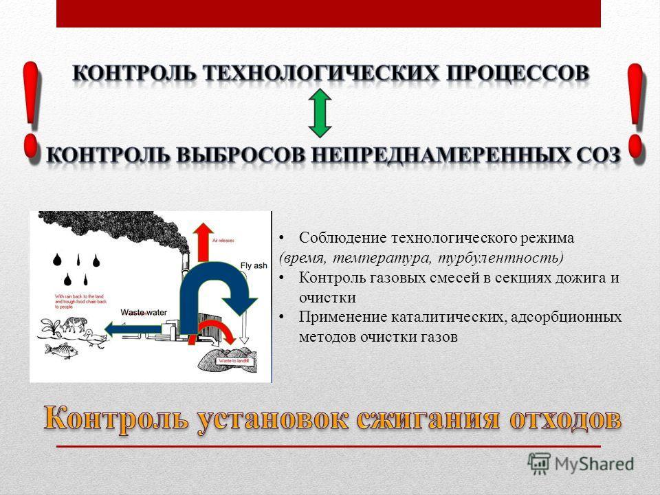 Соблюдение технологического режима (время, температура, турбулентность) Контроль газовых смесей в секциях дожига и очистки Применение каталитических, адсорбционных методов очистки газов