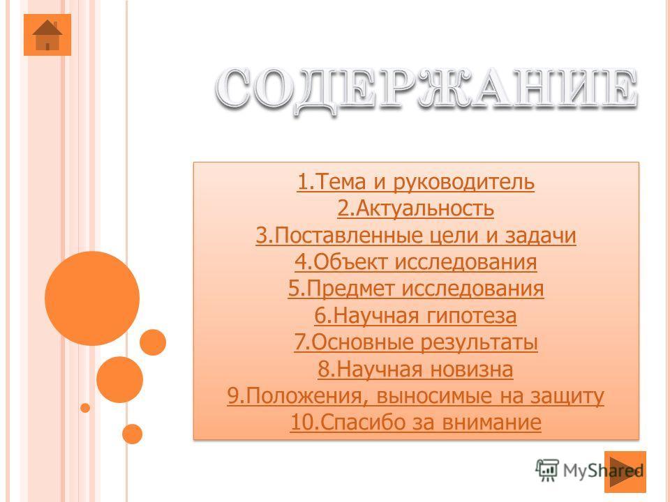 1. Тема и руководитель 2. Актуальность 3. Поставленные цели и задачи 4. Объект исследования 5. Предмет исследования 6. Научная гипотеза 7. Основные результаты 8. Научная новизна 9.Положения, выносимые на защиту 10. Спасибо за внимание 1. Тема и руков