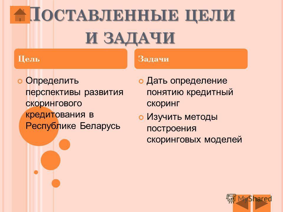 П ОСТАВЛЕННЫЕ ЦЕЛИ И ЗАДАЧИ Определить перспективы развития скорингового кредитования в Республике Беларусь Дать определение понятию кредитный скоринг Изучить методы построения скоринговых моделей Цель Задачи