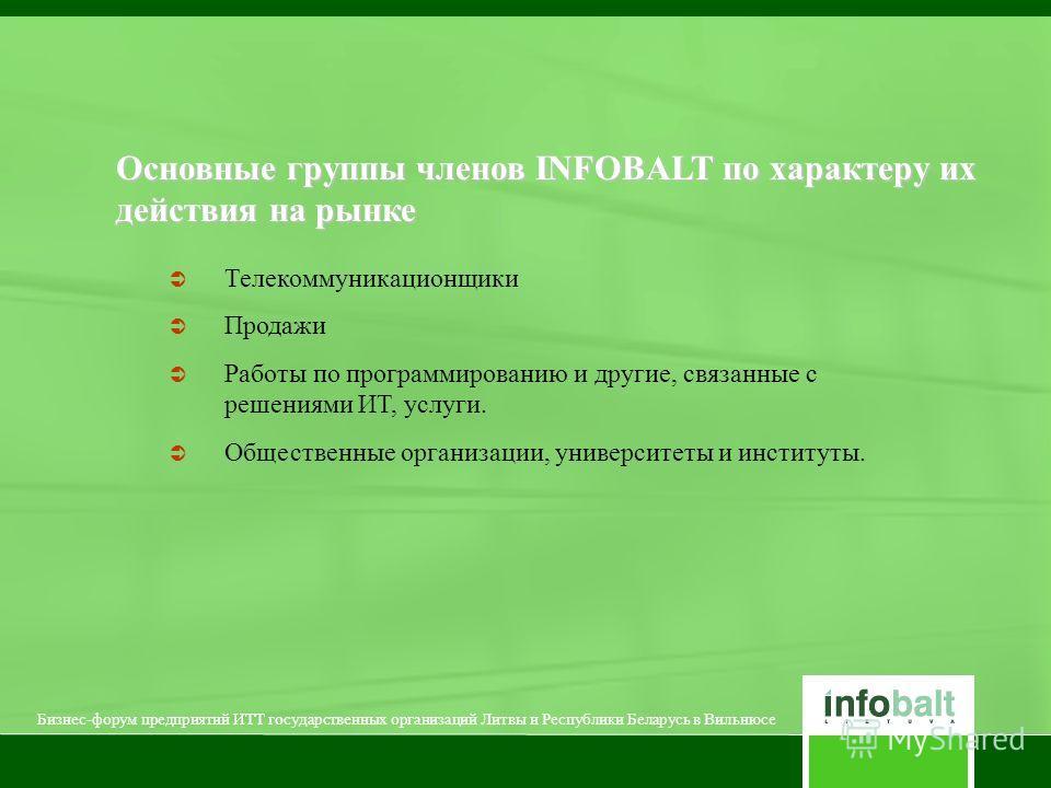 Основные группы членов INFOBALT по характеру их действия на рынке Телекоммуникационщики Продажи Работы по программированию и другие, связанные с решениями ИТ, услуги. Общественные организации, университеты и институты. Бизнес-форум предприятий ИТТ го