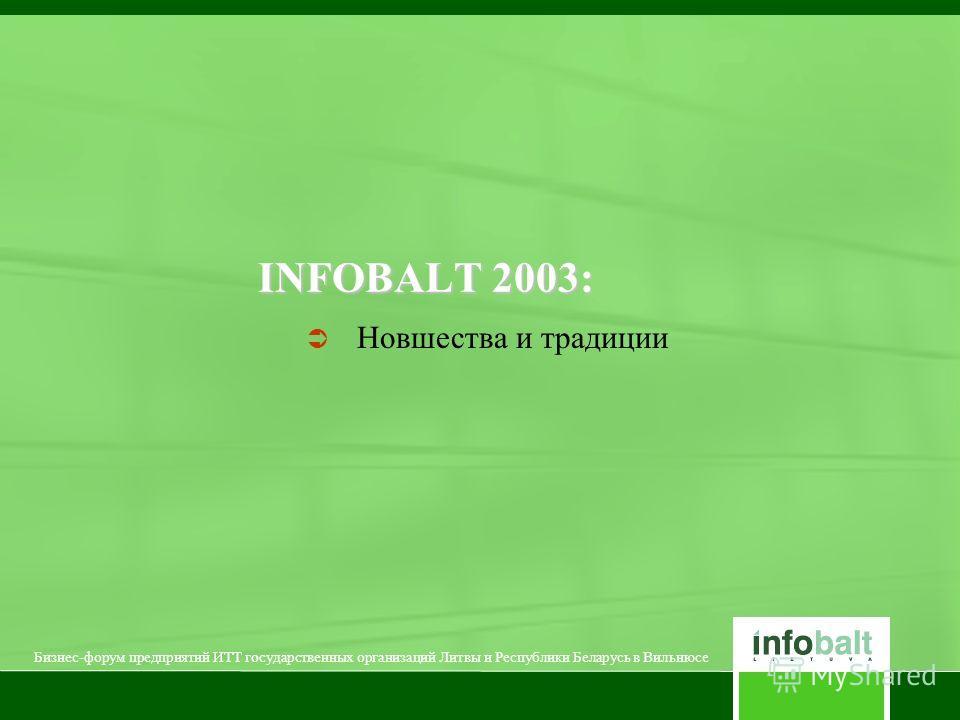INFOBALT 2003: Новшества и традиции Бизнес-форум предприятий ИТТ государственных организаций Литвы и Республики Беларусь в Вильнюсе