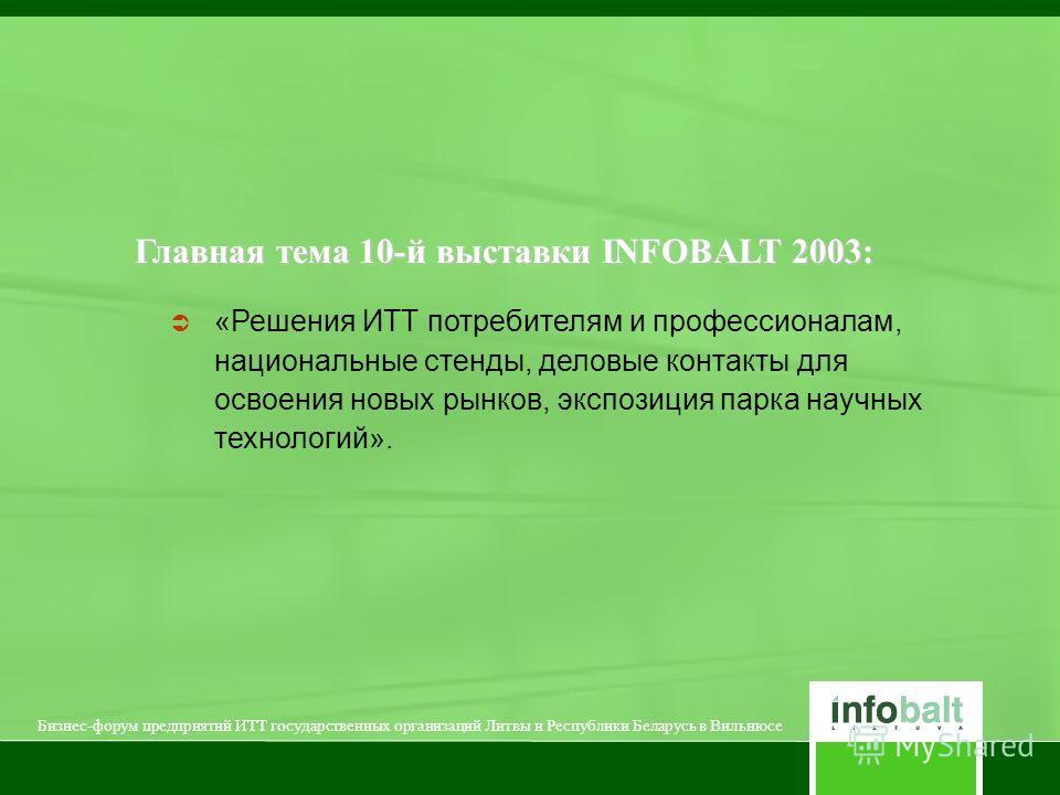Главная тема 10-й выставки INFOBALT 2003: «Решения ИТТ потребителям и профессионалам, национальные стенды, деловые контакты для освоения новых рынков, экспозиция парка научных технологий». Бизнес-форум предприятий ИТТ государственных организаций Литв
