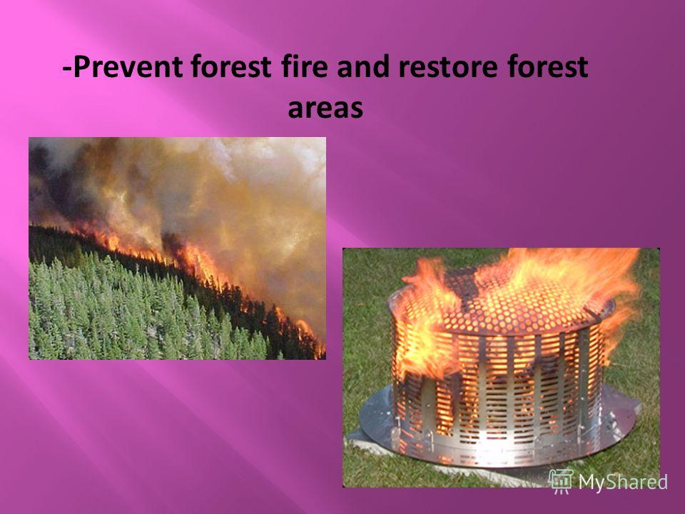 -Prevent forest fire and restore forest areas