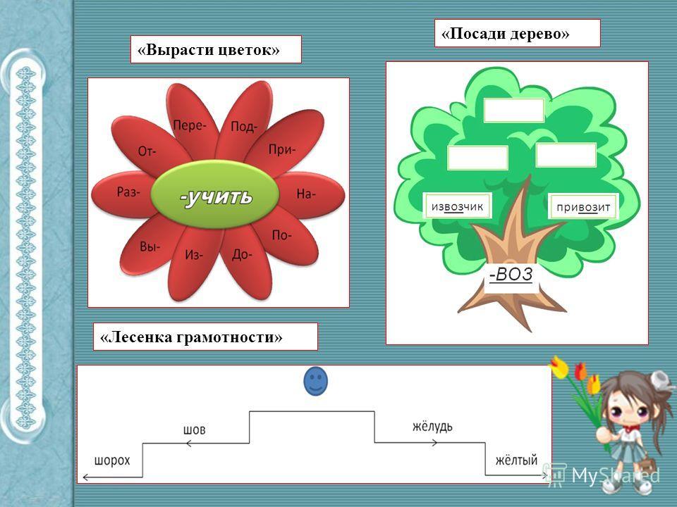 «Вырасти цветок» «Посади дерево» «Лесенка грамотности»