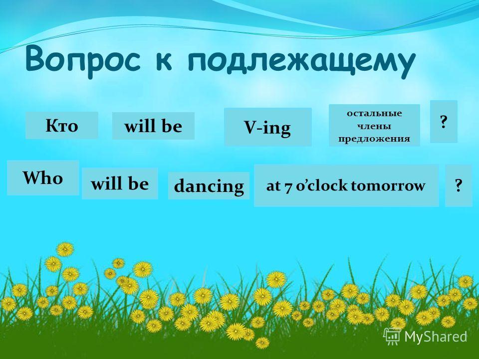 Вопрос к подлежащему Кто Who V-ing will be остальные члены предложения at 7 oclock tomorrow ? ? will be dancing