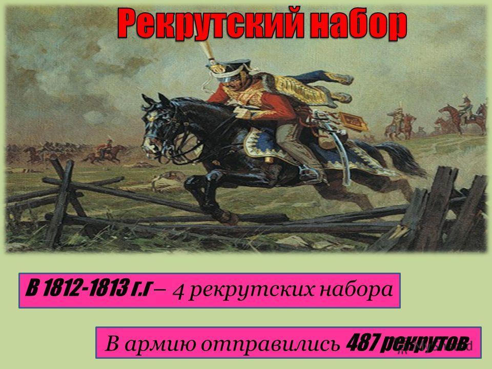 В 1812-1813 г.г – 4 рекрутских набора В армию отправились 487 рекрутов