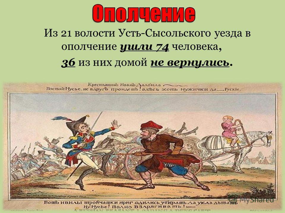Из 21 волости Усть-Сысольского уезда в ополчение ушли 74 человека, 36 из них домой не вернулись.