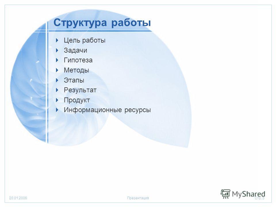 Стр. 520.01.2006Презентация Структура работы Цель работы Задачи Гипотеза Методы Этапы Результат Продукт Информационные ресурсы