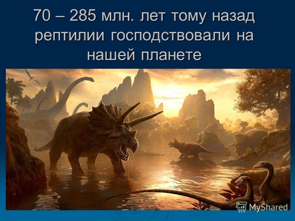 70 – 285 млн. лет тому назад рептилии господствовали на нашей планете